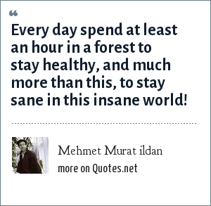 Mehmet Murat ildan: Every day spend at least an hour in a forest to stay healthy, and much more than this, to stay sane in this insane world!