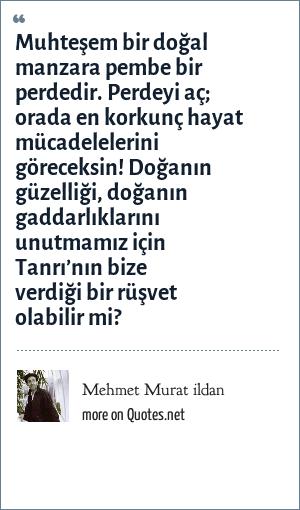 Mehmet Murat ildan: Muhteşem bir doğal manzara pembe bir perdedir. Perdeyi aç; orada en korkunç hayat mücadelelerini göreceksin! Doğanın güzelliği, doğanın gaddarlıklarını unutmamız için Tanrı'nın bize verdiği bir rüşvet olabilir mi?