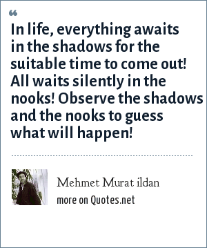 Mehmet Murat ildan: In life, everything awaits in the shadows for the suitable time to come out! All waits silently in the nooks! Observe the shadows and the nooks to guess what will happen!