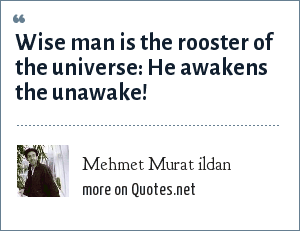 Mehmet Murat ildan: Wise man is the rooster of the universe: He awakens the unawake!