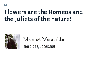 Mehmet Murat ildan: Flowers are the Romeos and the Juliets of the nature!
