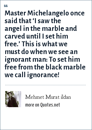 Mehmet Murat ildan: Master Michelangelo once said that 'I saw the angel in the marble and carved until I set him free.' This is what we must do when we see an ignorant man: To set him free from the black marble we call ignorance!
