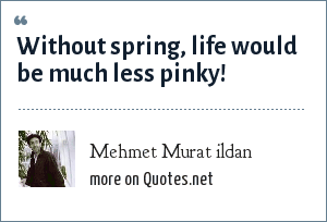 Mehmet Murat ildan: Without spring, life would be much less pinky!