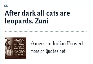 American Indian Proverb: After dark all cats are leopards. Zuni