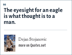 Dejan Stojanovic: The eyesight for an eagle is what thought is to a man.