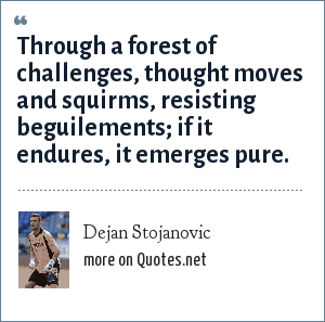 Dejan Stojanovic: Through a forest of challenges, thought moves and squirms, resisting beguilements; if it endures, it emerges pure.