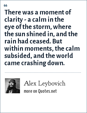 Alex Leybovich: There was a moment of clarity - a calm in the eye of the storm, where the sun shined in, and the rain had ceased. But within moments, the calm subsided, and the world came crashing down.