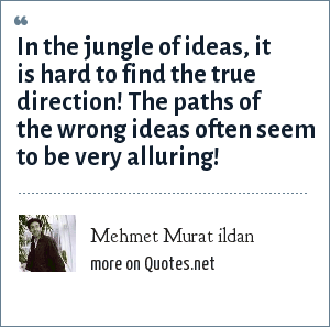Mehmet Murat ildan: In the jungle of ideas, it is hard to find the true direction! The paths of the wrong ideas often seem to be very alluring!