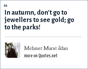Mehmet Murat ildan: In autumn, don't go to jewellers to see gold; go to the parks!