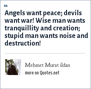 Mehmet Murat ildan: Angels want peace; devils want war! Wise man wants tranquillity and creation; stupid man wants noise and destruction!