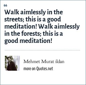Mehmet Murat ildan: Walk aimlessly in the streets; this is a good meditation! Walk aimlessly in the forests; this is a good meditation!