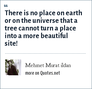 Mehmet Murat ildan: There is no place on earth or on the universe that a tree cannot turn a place into a more beautiful site!