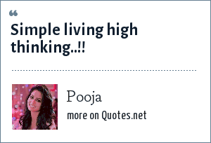 Pooja: Simple living high thinking..!!