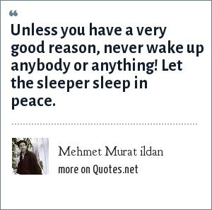 Mehmet Murat ildan: Unless you have a very good reason, never wake up anybody or anything! Let the sleeper sleep in peace.