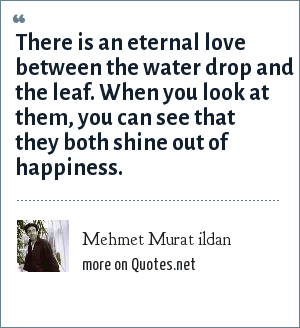 Mehmet Murat ildan: There is an eternal love between the water drop and the leaf. When you look at them, you can see that they both shine out of happiness.