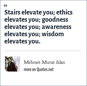 Mehmet Murat ildan: Stairs elevate you; ethics elevates you; goodness elevates you; awareness elevates you; wisdom elevates you.