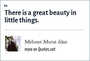 Mehmet Murat ildan: There is a great beauty in little things.