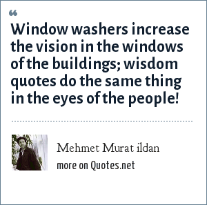 Mehmet Murat ildan: Window washers increase the vision in the windows of the buildings; wisdom quotes do the same thing in the eyes of the people!