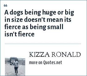 KIZZA RONALD: A dogs being huge or big in size doesn't mean its fierce as being small isn't fierce