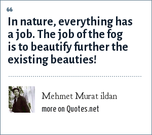Mehmet Murat ildan: In nature, everything has a job. The job of the fog is to beautify further the existing beauties!