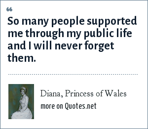 Diana, Princess of Wales: So many people supported me through my public life and I will never forget them.