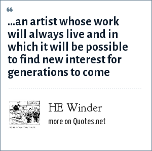 HE Winder: …an artist whose work will always live and in which it will be possible to find new interest for generations to come