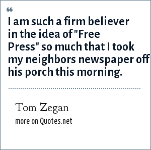 Tom Zegan: I am such a firm believer in the idea of
