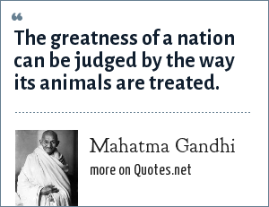Mahatma Gandhi: The greatness of a nation can be judged by the way its animals are treated.