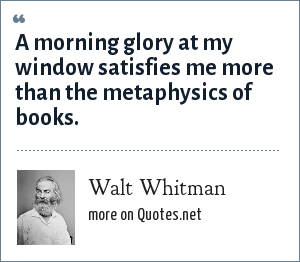 Walt Whitman: A morning glory at my window satisfies me more than the metaphysics of books.
