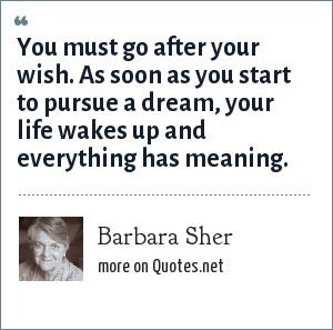 Barbara Sher: You must go after your wish. As soon as you start to pursue a dream, your life wakes up and everything has meaning.