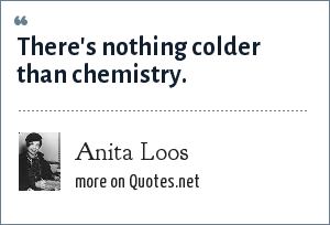 Anita Loos: There's nothing colder than chemistry.