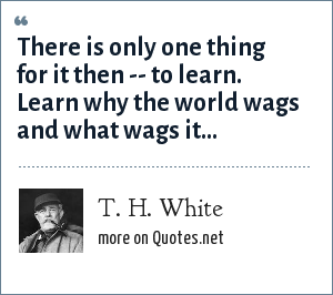T. H. White: There is only one thing for it then -- to learn. Learn why the world wags and what wags it...