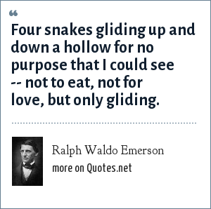 Ralph Waldo Emerson: Four snakes gliding up and down a hollow for no purpose that I could see -- not to eat, not for love, but only gliding.