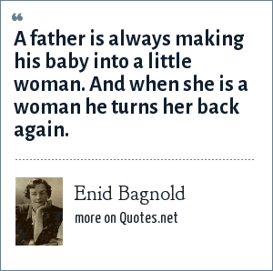 Enid Bagnold: A father is always making his baby into a little woman. And when she is a woman he turns her back again.
