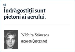Nichita Stănescu: Îndrăgostiţii sunt pietoni ai aerului.