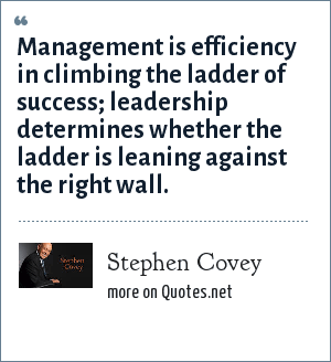 Stephen Covey: Management is efficiency in climbing the ladder of success; leadership determines whether the ladder is leaning against the right wall.