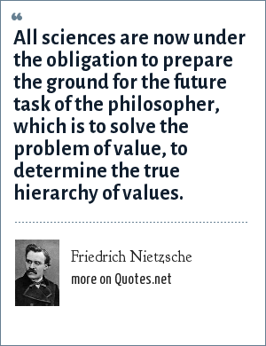 Friedrich Nietzsche: All sciences are now under the obligation to prepare the ground for the future task of the philosopher, which is to solve the problem of value, to determine the true hierarchy of values.