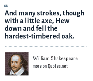 William Shakespeare: And many strokes, though with a little axe, Hew down and fell the hardest-timbered oak.