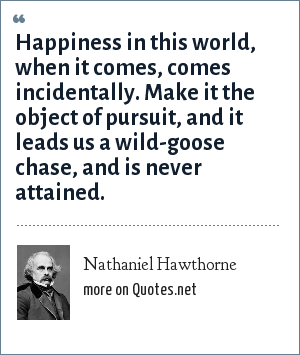 Nathaniel Hawthorne: Happiness in this world, when it comes, comes incidentally. Make it the object of pursuit, and it leads us a wild-goose chase, and is never attained.