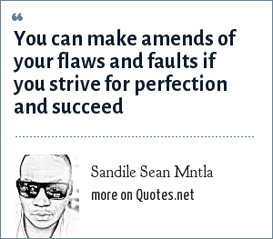 Sandile Sean Mntla: You can make amends of your flaws and faults if you strive for perfection and succeed