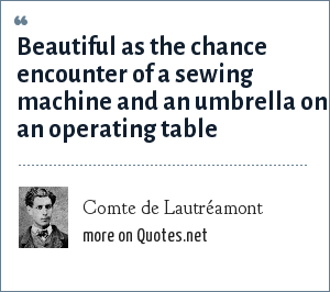 Comte de Lautréamont: Beautiful as the chance encounter of a sewing machine and an umbrella on an operating table