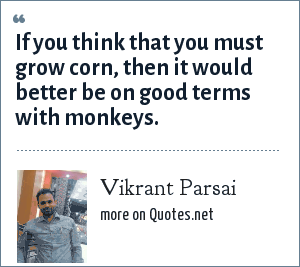 Vikrant Parsai: If you think that you must grow corn, then it would better be on good terms with monkeys.