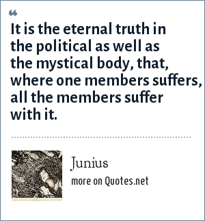 Junius: It is the eternal truth in the political as well as the mystical body, that, where one members suffers, all the members suffer with it.