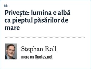 Stephan Roll: Priveşte: lumina e albă ca pieptul păsărilor de mare