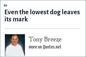 Tony Breeze: Even the lowest dog leaves its mark