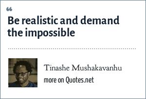 Tinashe Mushakavanhu: Be realistic and demand the impossible