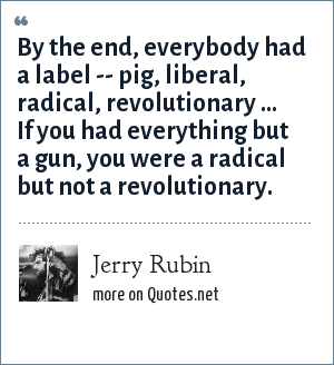 Jerry Rubin: By the end, everybody had a label -- pig, liberal, radical, revolutionary ... If you had everything but a gun, you were a radical but not a revolutionary.