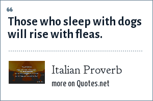 Italian Proverb: Those who sleep with dogs will rise with fleas.