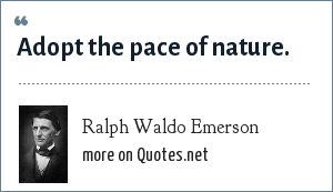 Ralph Waldo Emerson: Adopt the pace of nature.