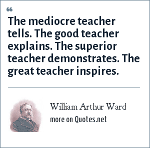 William Arthur Ward: The mediocre teacher tells. The good teacher explains. The superior teacher demonstrates. The great teacher inspires.